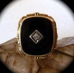 Black Onyx & Diamond 10k Yellow Gold Ring from bejewelled on Ruby Lane
