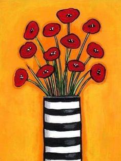 Art Floral, Art Fantaisiste, Art Abstrait, Red Poppies, Red Tulips, Whimsical Art, Art Lessons, Flower Art, Art For Kids