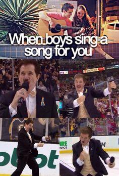 When boys sing for you #Hockey #Bruins #Humor Rene Rancourt