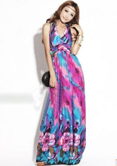 9c2dac0a914 Haltered Bohemian Style Floral Print Maxi Dress on BuyTrends.com