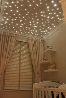 Not only do I love the starry sky... I am obsessed with neutral tone on tone rooms! So cute and sweet for a nursery too!