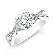 14k White Gold Twisted Split Shank Diamond Engagement Semi Mount Ring - NK19582ENG-W