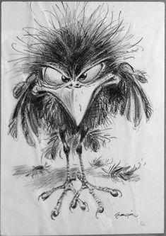 Yvan Delporte, encore un Grand qui s'en va - m. - Yvan Delporte, still a Large which leaves - m… - Bird Drawings, Cartoon Drawings, Animal Drawings, Cartoon Art, Tattoo Sketches, Drawing Sketches, Vogel Illustration, Art Fantaisiste, Arte Black