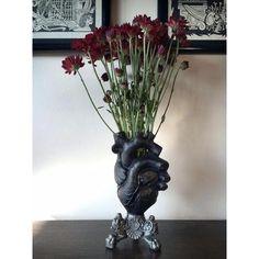 Black Anatomical Heart Vase