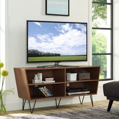 52 inch Mid-Century Modern Angled Side TV Stand Console Entertainment Center with Metal Legs - Acorn, Brown Plan Garage, Ikea Tv, Tv Stand Console, Tv Decor, Home Decor, Decor Ideas, Entertainment Center Decor, Hemnes, My Living Room
