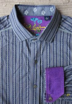 ROBERT GRAHAM SILK Trim Embroidered Flip Cuff Mother of Pearl Button Shirt Large #RobertGraham #ButtonFront