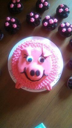Pink Pig birthday cake-Tia's 19th birthday