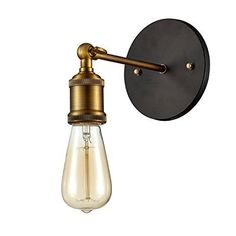 Ohr Lighting Wall Sconce Industrial Edison Vintage Style Loft Metal Light Fixture Antique Brass Finish with Bulb Included Vintage Industrial Lighting, Antique Lighting, Sconce Lighting, Wall Lighting, Lighting Design, Bathroom Lighting, Edison Light Chandelier, Lamp Light, Pallet Patio Furniture