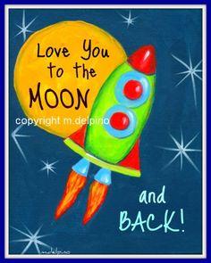 Rocket Ship galaxy Space ship I Love You to the Moon and Back nursery quote print moon stars nursery wall decor little boy bedroom art. $10.00, via Etsy.
