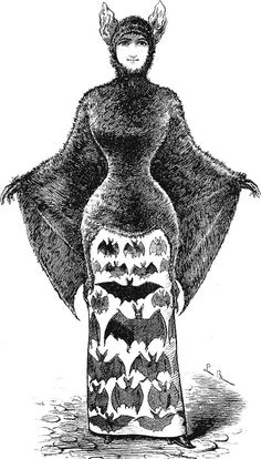 Free Vintage Clip Art - 2 Victorian Bat Ladies - Halloween - The Graphics Fairy