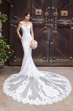 Embroidered Off Shoulder Mermaid Wedding Dress / Bridal Gown with Long Sleeves, V-Neck Cut and Long Train by Kitty Chen Couture Amazing Wedding Dress, Wedding Dress Styles, Bridal Dresses, Wedding Gowns, Bridesmaid Dresses, Lace Wedding, Dream Wedding, Backless Wedding, Modest Wedding