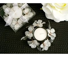 Frosted Glass Flower Candle Holder.