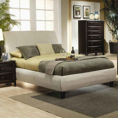 Upholstered Platform Bed With Headboard Using Green Bedding Placed On Grey Carpet On Wooden Floor With Beds Beds Beds  And California King Platform Bed Frame With Drawers