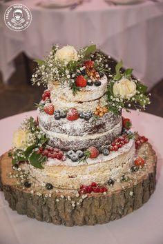 Cake by http://www.frenchmade.co.uk #nakedcake #rustic #wedding #whiteroses #woodland #wood #log #gold #summerberries #blueberries #strawberries #babysbreath #redcurrant #eggless #weddingcake #asianwedding