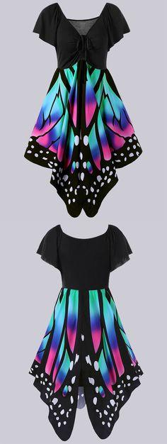 $16.43 Plus Size Empire Waist Butterfly Print Dress
