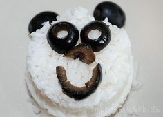 rice and olives panda snack