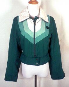 9ad783a2358 vtg 70s 80s Elho ladies Green RETRO Chevron Ski Jacket Winter Sports SZ 12