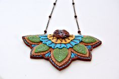 Embroidered Woodland Necklace by SewSweetStitches on Etsy, $38.00