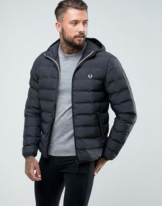 FRED PERRY BRENTHAM QUILTED PUFFER HOODED JACKET IN BLACK - NAVY. #fredperry #cloth #