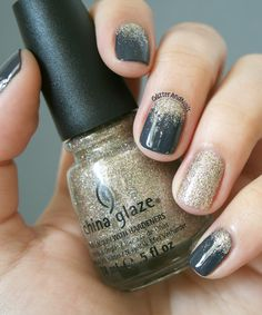Gray nails and gold glitter accent