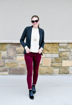 Charcoal grey blazer outfit with burgundy pants — Cotton Cashmere Cat Hair  Blazer Outfits For Women 9ab93986f