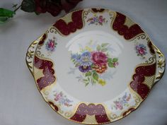 Vintage Shelley Red Gilt Florals Cake Plate by Mycousinrachel
