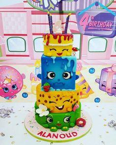 Shopkins stack by Rabarbar_cakery Bolo Shopkins, Shopkins Birthday Cake, 9th Birthday Cake, Brithday Cake, Birthday Ideas, How To Stack Cakes, Tall Cakes, Pokemon, Novelty Cakes