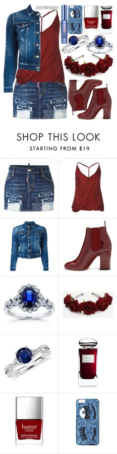 """""""True Blue: Distressed Denim"""" by deedee-pekarik ❤ liked on Polyvore featuring Dsquared2, Laurence Dacade, Kobelli, Blue Nile, By Terry, Butter London, Chiara Ferragni and Benefit"""