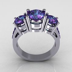 Contemporary 14K White Gold Three Stone 225 Carat by artmasters, $949.00