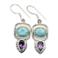 'Paradise Found' Sterling Silver Dominican Larimar, Amethyst Dangle Earrings  Price : $49.95 http://www.silverplazajewelry.com/Paradise-Sterling-Silver-Dominican-Amethyst/dp/B00OQ6ACL6