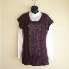 Sweater Vest This long tunic sweater vest us in perfect condition. It is brown with button detail around hips. Very soft. Maurices Sweaters Crew & Scoop Necks