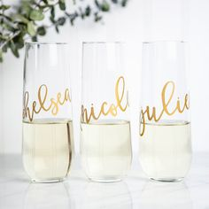 Personalized Champagne Flutes, Bridesmaid Wine Glasses,Custom Wine Flutes,Bridesmaid Gift, Bridal Party Gifts,Wedding Wine Glasses, Engraved by DeighanDesign on Etsy https://www.etsy.com/listing/269559968/personalized-champagne-flutes-bridesmaid