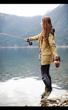 rain coat and boots and fishin'