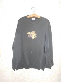 Vintage 80s Winnie The Pooh Black Crewneck Sweatshirt Pullover