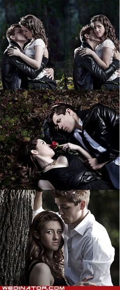 """Yes, oh yes. This is a """"Twilight"""" engagement photo shoot. Honestly honey, if you found a guy actually willing to go along with this, you'd better hold on to him tight."""