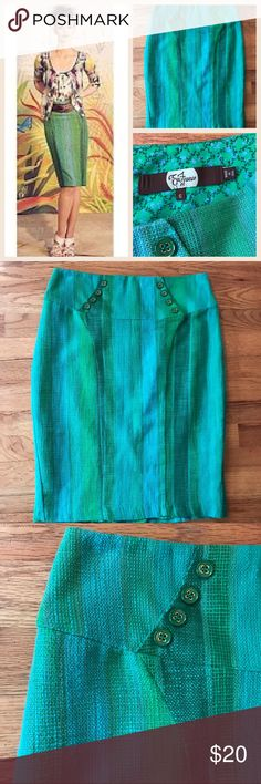 "Anthropologie Eva Franco Skirt Stunning pencil skirt in multiple shades of green with a linen weave. Eight buttons and curve accentuating seams add interest.  Perfect to add color to your spring and summer wardrobe.  Excellent condition with no flaws. 100% cotton   Size: 6   Waist: 14.5""  Length: 22.5"" Anthropologie Skirts Pencil"