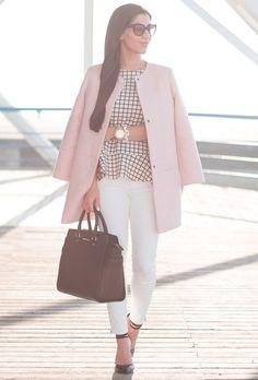 6773064ed6137 la vie en rose (Club Monaco pink coat + Zara windowpane top + Zara white  Tory  Burch ...