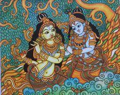 Radha Krishna - Kerala Murals | Paintings & Prints, Fantasy ...