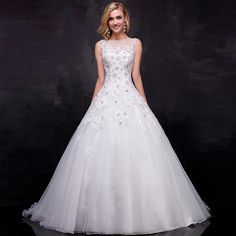 >> Click to Buy << Vestido De Noiva 2016 A-line Wedding Dresses Sexy Boat Neck Sleeveless Beaded Lace Appliques Bridal Gown Plus Size ZY4682 #Affiliate