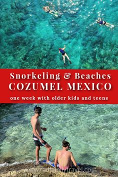 Most people visit Cozumel for a day, but we say stay for a week. Snorkeling in Cozumel Mexico is one of the top things to do with older kids and teens on this gorgeous raw island that is home to some of the world's best coral reefs for snorkeling and diving. Learn the best snorkel spots, beach clubs, and discover the island by scooter. See where to stay and how to spend a fun week in Cozumel. Cozumel Beach, Cozumel Mexico, South America Travel, North America, Mountain City, Best Snorkeling, Travel Inspiration, Travel Ideas, Travel Tips