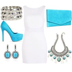 LOLO Moda: Unique women dresses 2013...don't know this brand..but a white sheath dress with turquoise shoes and accessories is definitely something I'd pick out for dress up.