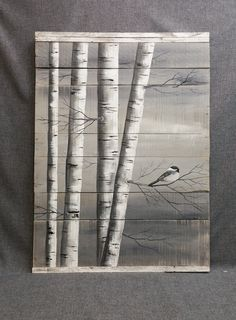 Gray Pallet Art White Birch Painting, LARGE, Distressed Reclaimed wood, Hand painted, handmade, wall decor, chickadee, Rustic & Shabby Chic