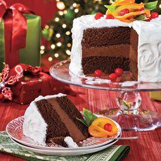 Chocolate-Citrus Cake With Candied Oranges   MyRecipes Christmas Cake