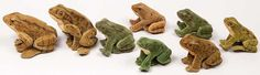 circa 1950 Steiff frog collection  Frank and Barbara Pollack Antiques