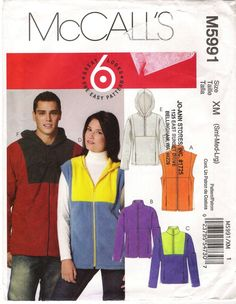 McCall's 5991 Unisex Unlined Vests, Jackets and Tops