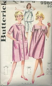 Plus Size Babydoll Pajamas Pattern Brunch Coat   Nightgown Vintage Sewing Pattern  Butterick 9985 Size 18 Bust 38 UNUSED Factory Folds adaacb24c