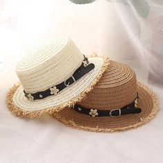 Floral Belt Flat Top Straw Sun Hats 9d474728b561