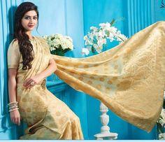 wedding Wear tussar Saree Indian ethnic zari blouse Bollywood bridal gold Sari  #Handmade #saree