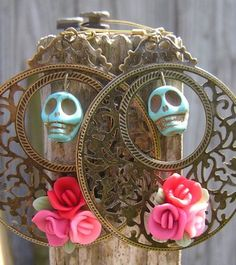 I am FriDa Sugar Skull Day of the Dead Jewelry Skull earrings Big & Bold flowers