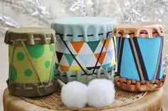 DIY Drums for Kids - in that imaginary future when I have the time to make crafts, I'm totally making one of these. Love that middle one. Music Instruments Diy, Instrument Craft, Homemade Musical Instruments, Drums For Kids, Toys For Boys, Diy Holiday Gifts, Easy Diy Gifts, Diy Projects For Kids, Diy For Kids